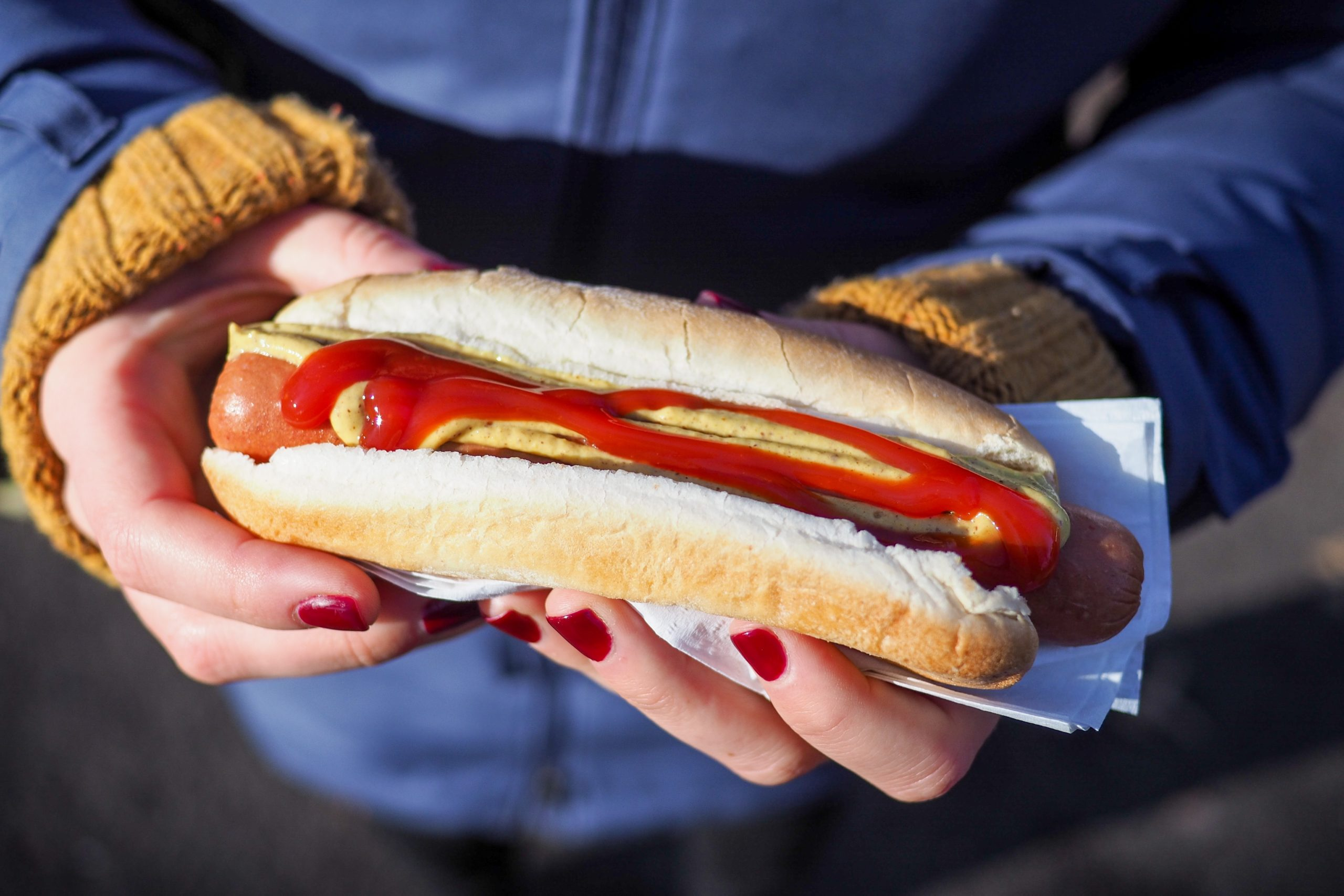 person holding hotdog with bun
